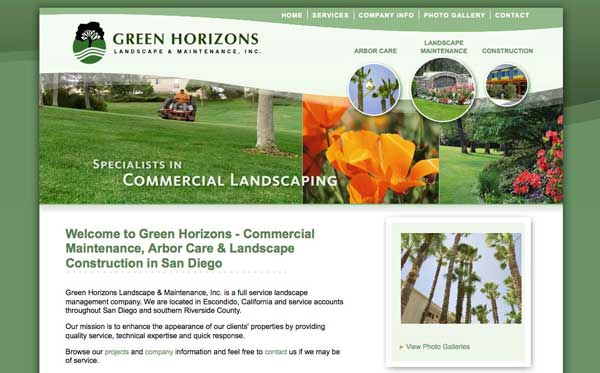 Website design for Escondido landscape maintenance company