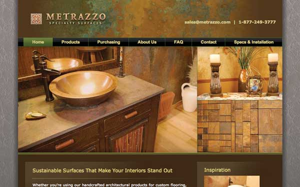 Website design for interior surfaces distributor