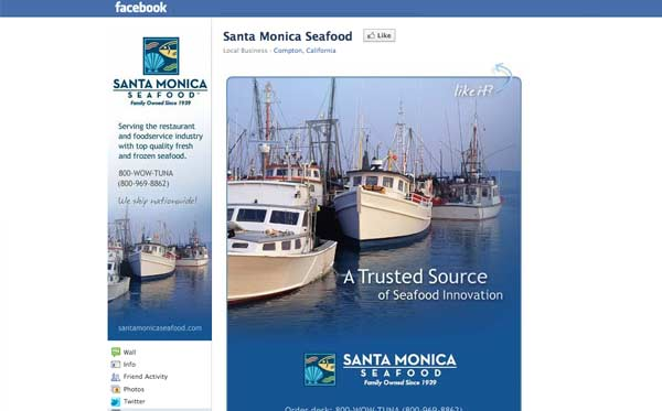Facebook business page design for seafood distributor