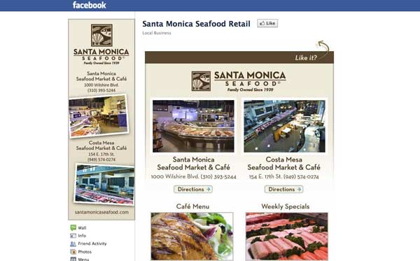 Facebook business page design for seafood restaurant