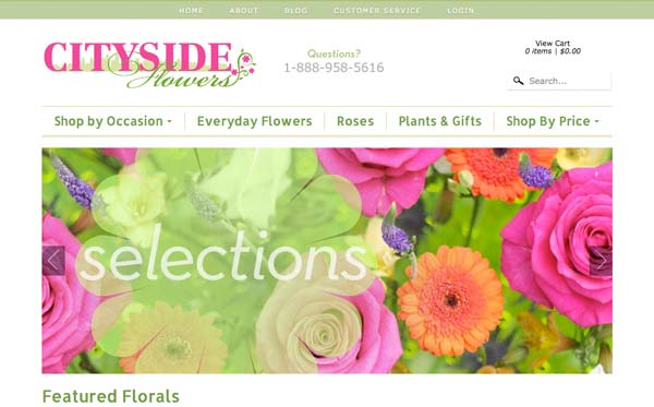 Website theme customization for online florist