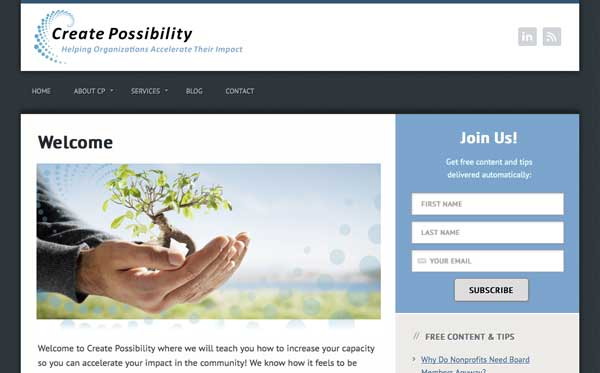 Responsive website theme customizations for San Diego nonprofit consultant