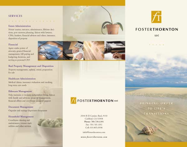 Tri-fold brochure design for San Diego fiduciary