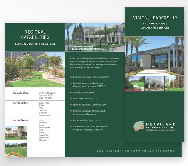 Brochure design for Vista landscape maintenance contractor