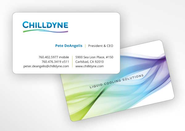 Business card design for Carlsbad engineering startup