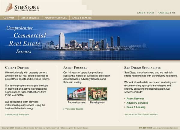 Web design for San Diego commercial real estate firm