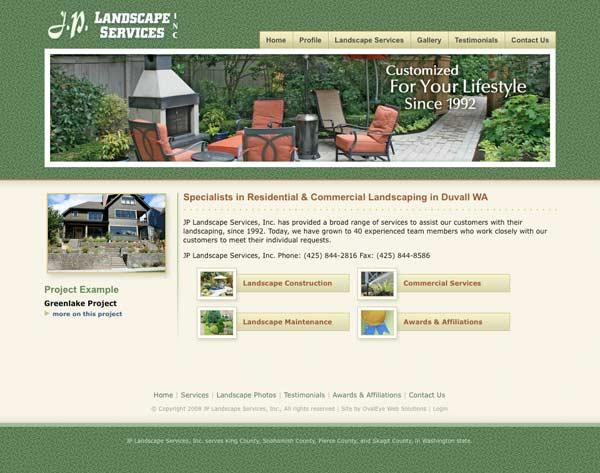 Web design for Washington State landscape company